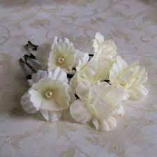 flower hair pins ivory mini flower hair pins set of six flower bobby pins pearl