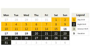 shift calendar template u2013 free download chandoo org learn