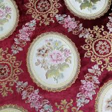 Upholstery Fabric For Armchairs Luxurious All Over Embroidery Location Floral Design Burgundy