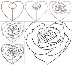 how to draw a rose from a heart rose facebook and drawings