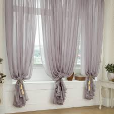 Grey Beige Curtains Grey Color Solid Burlap Sheer Curtains