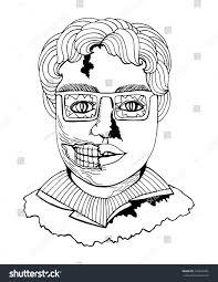 line art zombie man face comic stock vector 447240445 shutterstock