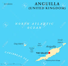 The Caribbean Map by Anguilla Political Map With Capital The Valley British Overseas