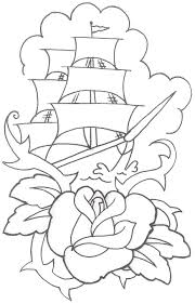 roses and pirate skull tattoo sketch photos pictures and