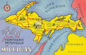 up michigan map vintage peninsula postcards