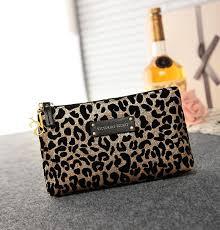 victoria s secret black gold leopard accessories cosmetic bag
