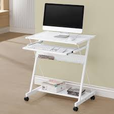 Metal Computer Desk With Hutch by White Computer Desk With Keyboard Drawer And Casters Coaster 800505
