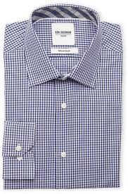 ben sherman navy white gingham tailored slim fit dress shirt