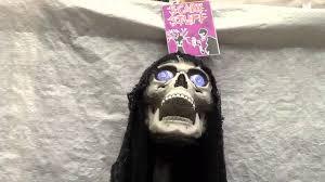 halloween scary stuff decoration hanging light up talking skull