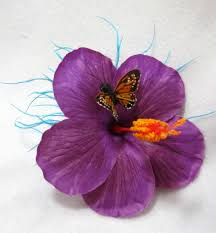hibiscus flower with butterfly hair clip
