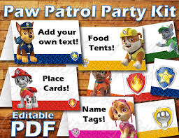 printable paw patrol birthday party food label tent card