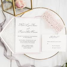 customized wedding invitations blush pink laser cut monogram customized wedding