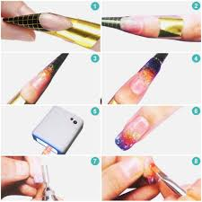 gel nails create perfect nails using nail forms yesurprise 100 x golden nail art tips extension forms guide french