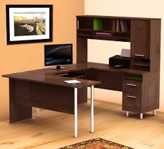 attractive best office desk manufacture wood construction brown walnut finish bookcase shelves storage cabinet stainless steel legs jpg