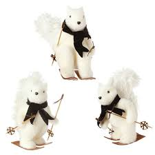 raz imports 14 white squirrel on skis ornament set of 3 out of