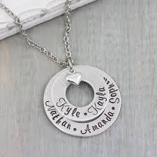 kids names necklace 4 layered washer necklace with kids names heartfelt tokens