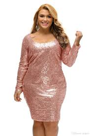 champagne sequin plus size long sleeve casual party dress 2017