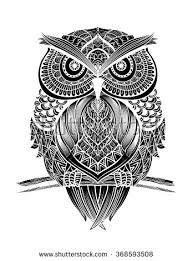 Patterned Flying Owl Drawing Illustration Abstract Vector Illustration Of Owl Made With Ethnic Pattern