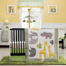 Jungle Themed Nursery Bedding Sets Elephants And Giraffes 4p Neutral Baby Boy Zoo Animals