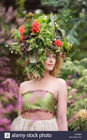 floral headdress rhs chelsea flower show portrait of a model with a large floral