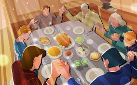thanksgiving dinner family prayer food turkey vector hd