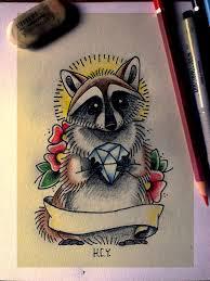 nice stencil of raccoon tattoos idea golfian com