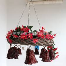 willow branch flower hanging basket wind chime bells made by