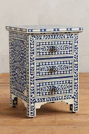 blue or teal nightstand for a white tile bathroom reno tiny