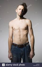Half Shaved Hairstyles Girls by Shirtless Man With Half Shaved Hair And Beard Stock Photo Royalty