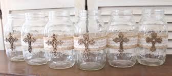 communion decoration baptism centerpiece jar wraps rustic baptism centerpiece