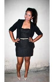 black bright dresses black blazers gold belts heels