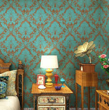 interior wallpapers for home haokhome 600906 non woven vintage blue bronze damask wallpaper for