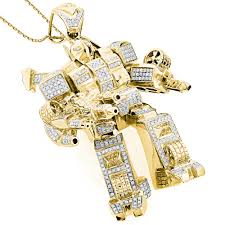 gold pendant necklace jewelry images Custom jewelry 3 d transformer diamond pendant 1 25ct gold plated jpg