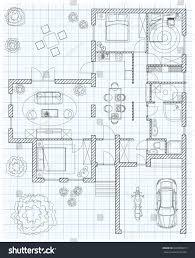 black white floor plan sketch house stock vector 320989619