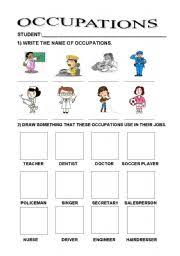 occupations worksheet by nise