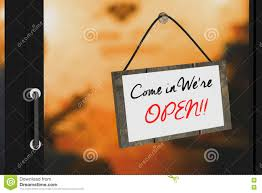 the glass door 3d rendering illustration of come in were open sign board