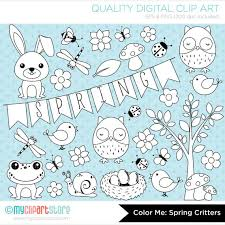digital stamps spring critters black white clipart color