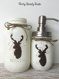 deerhead bathroom decor painted mason jars deer head soap