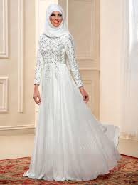 wedding dress muslimah simple charming beading sleeves a line floor length muslim wedding