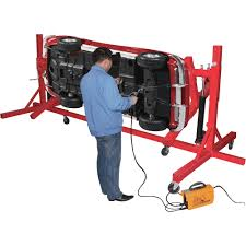 torin auto body repair lifting rack with gear rotation model