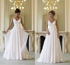 discount beach wedding dresses v neck chiffon flower sashes floor