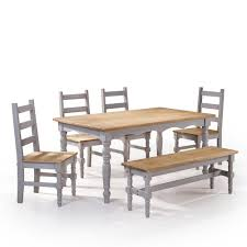Solid Wood Dining Room Chairs Manhattan Comfort Jay 6 Piece Gray Wash Solid Wood Dining Set With