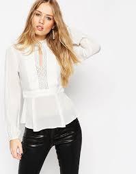 keyhole blouse asos asos keyhole blouse with lace inserts