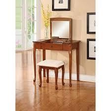 Espresso Vanity Table Wooden Makeup Vanity Table Set With Flip Mirror White Or Espresso