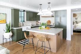 green kitchen cabinets with white island green shaker kitchen cabinets with brass pulls cottage