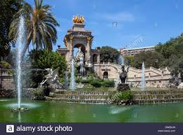 ornamental fountains in the parc de la ciutadella in the town
