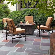 Stone Patio With Fire Pit Stamped Concrete Patio With Fire Pit Cost Top 25 Best Fire Pit