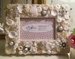 Wedding Gift For Sister White Button Frame With Pearls Gift For Mom Gift For Sister