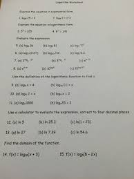 logarithm worksheet express the equation in expone chegg com