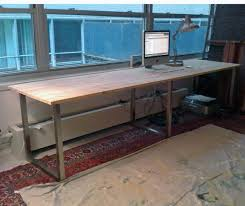 nickel plated desk l ikea hack using vika furuskog table top pine and vika moliden